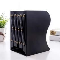 PUNCIA Expandable Bookcase Desktop Bookend Stand Holder Adjustable Book Rack for Kid Child Student Office Book Organizer (Black)