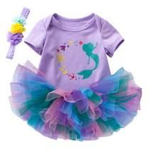Newborn Infant Baby Girls Bodysuit Outfit Mermaid Romper Tutu Dress Party Costume Headband Set (Suggest for 6-12 Months, Mermaid)