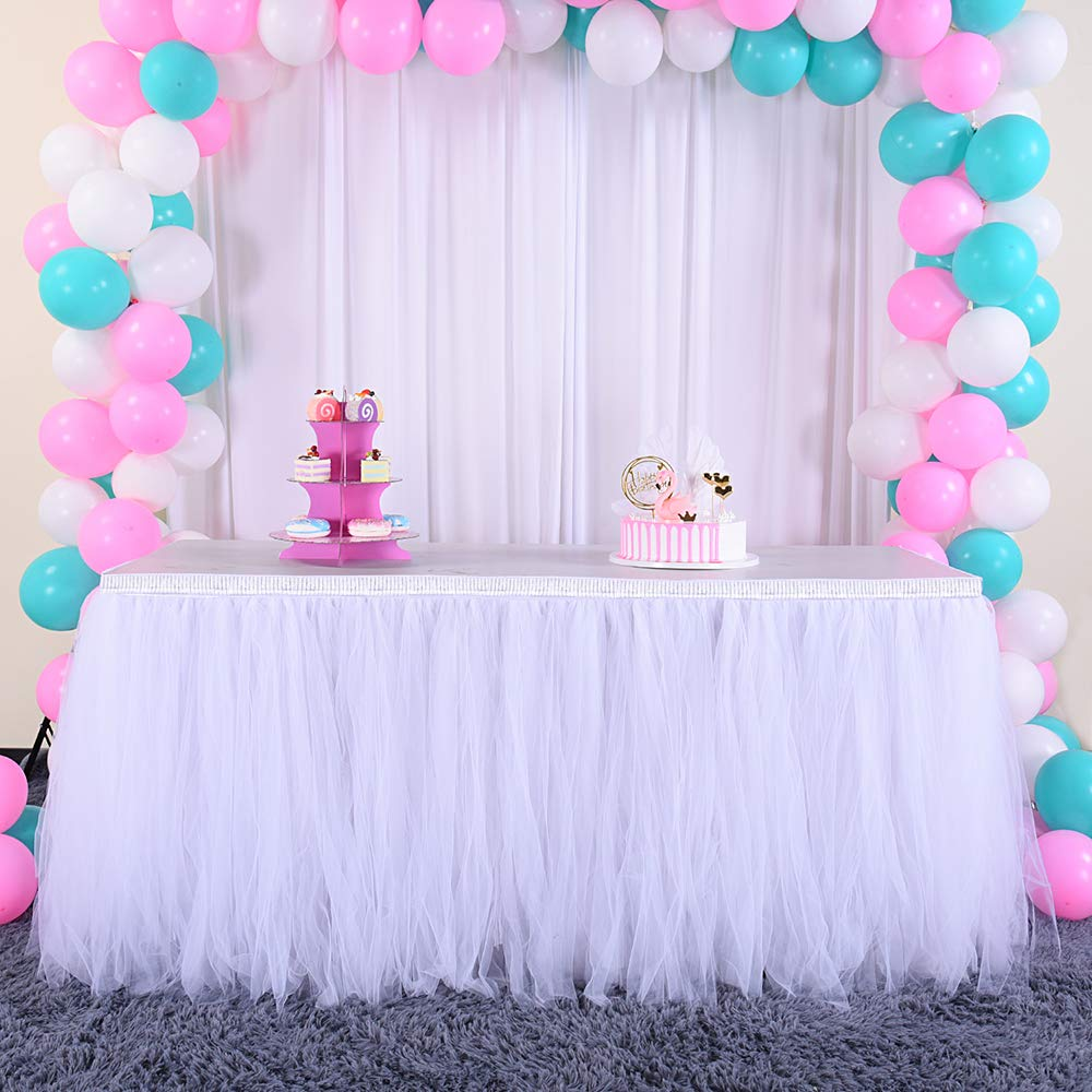 6ft Silver/White Tulle Table Skirt Tutu Table Skirts Wedding Birthday Baby Shower Party Table Skirting