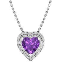 Dazzlingrock Collection 14K 8 MM Heart Gemstone & Round Diamond Heart Double Halo Pendant, White Gold