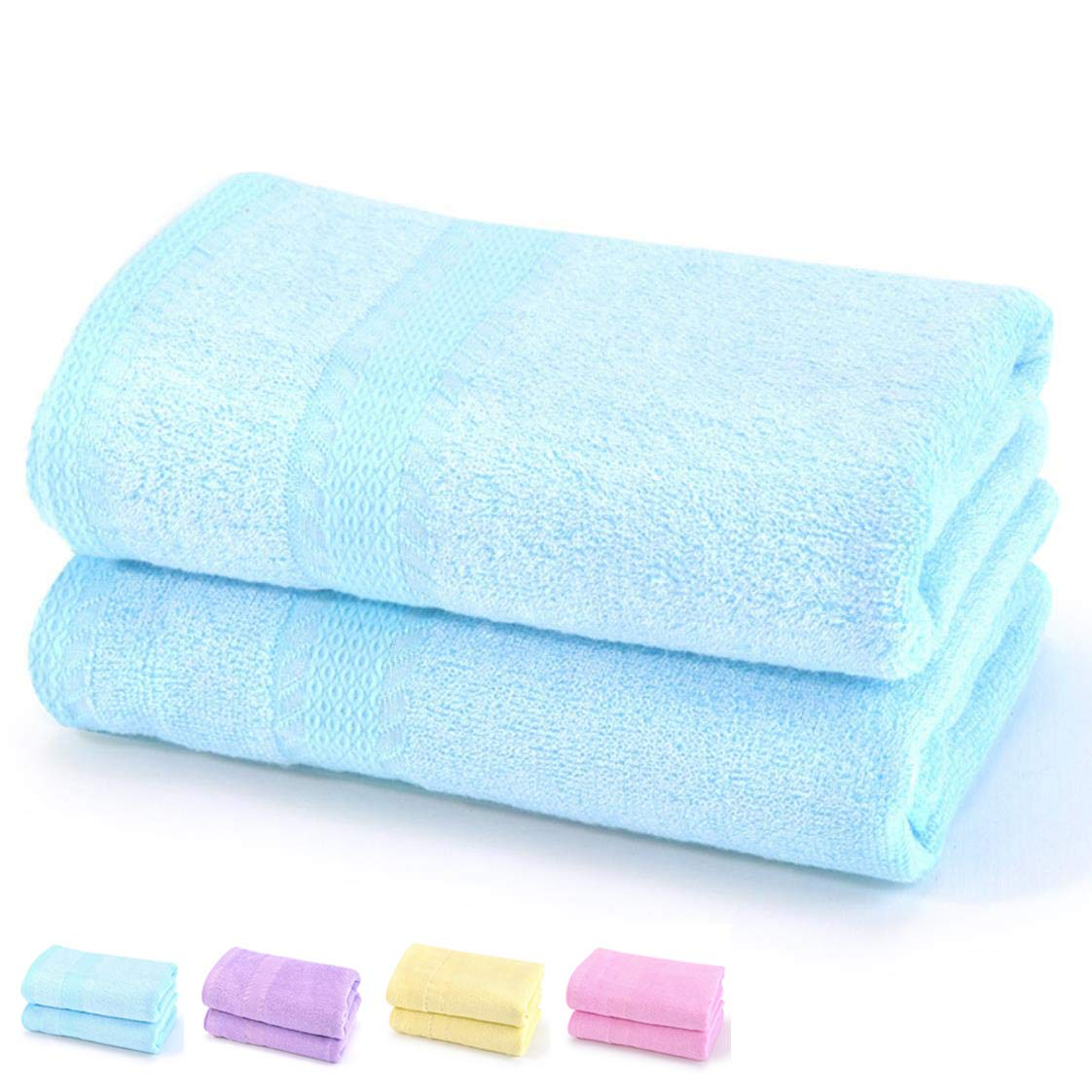 """TeenFighter Bamboo Fiber 360g Quality Bath Towel(2 Pack, 28"""" x 55"""") for Girls, Soft, Super Absorbent and Fast Drying Towels, Multipurpose Use for Sports, Travel, Fitness, Yoga (Blue, Bath Towel)"""