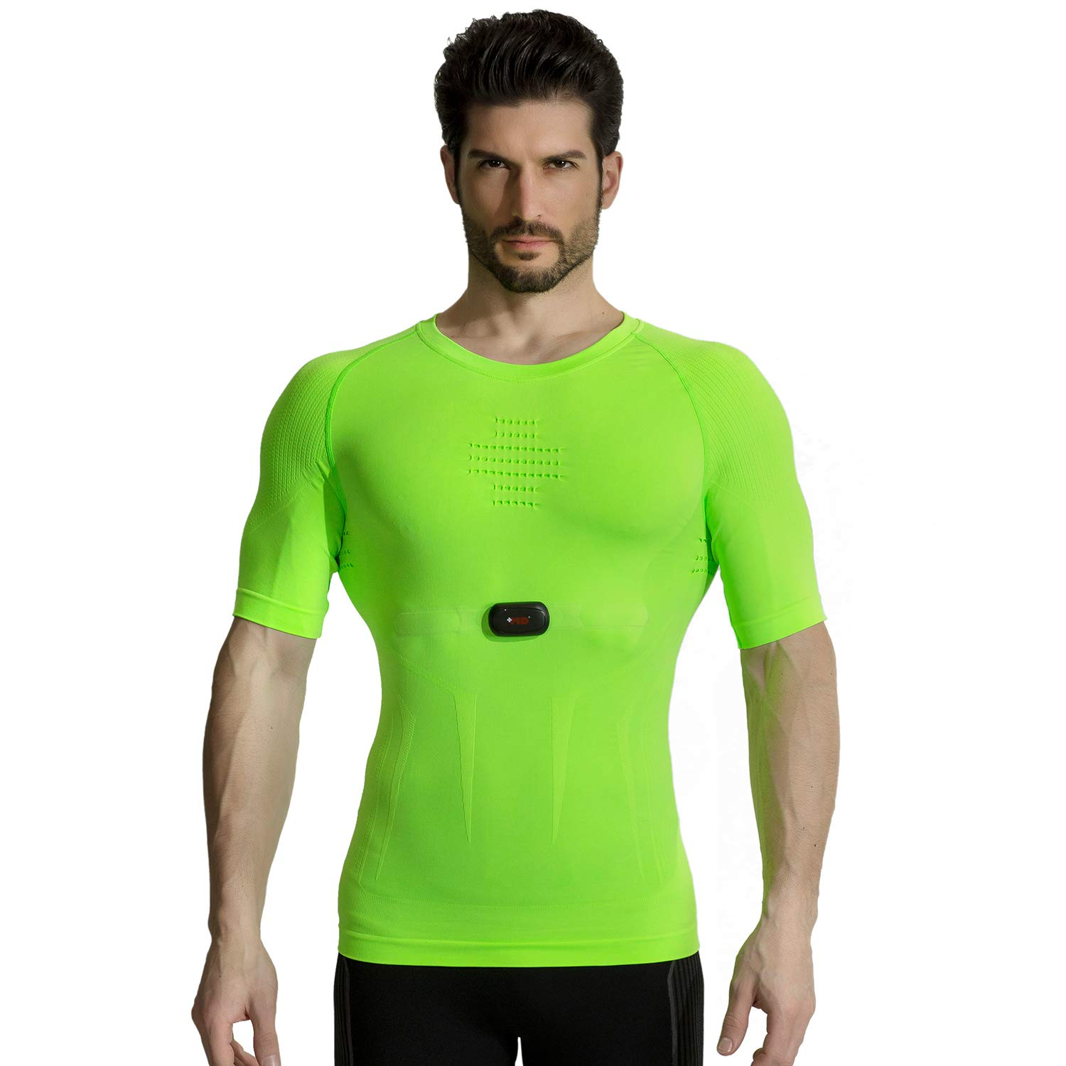 +MD Men's Cool Dry Compression Shirt Base Layer Short Sleeve T-Shirt with Heart Rate Monitor Chest Strap