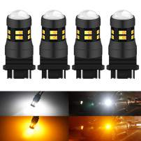 KATUR 3157 3047 3057 3155 3156 Switchback LED Bulbs White/Yellow High Power Extremely Bright 3030 Chipsets with Projector for Turn Signal Lights and Daytime Running Lights/DRL (Pack of 4)