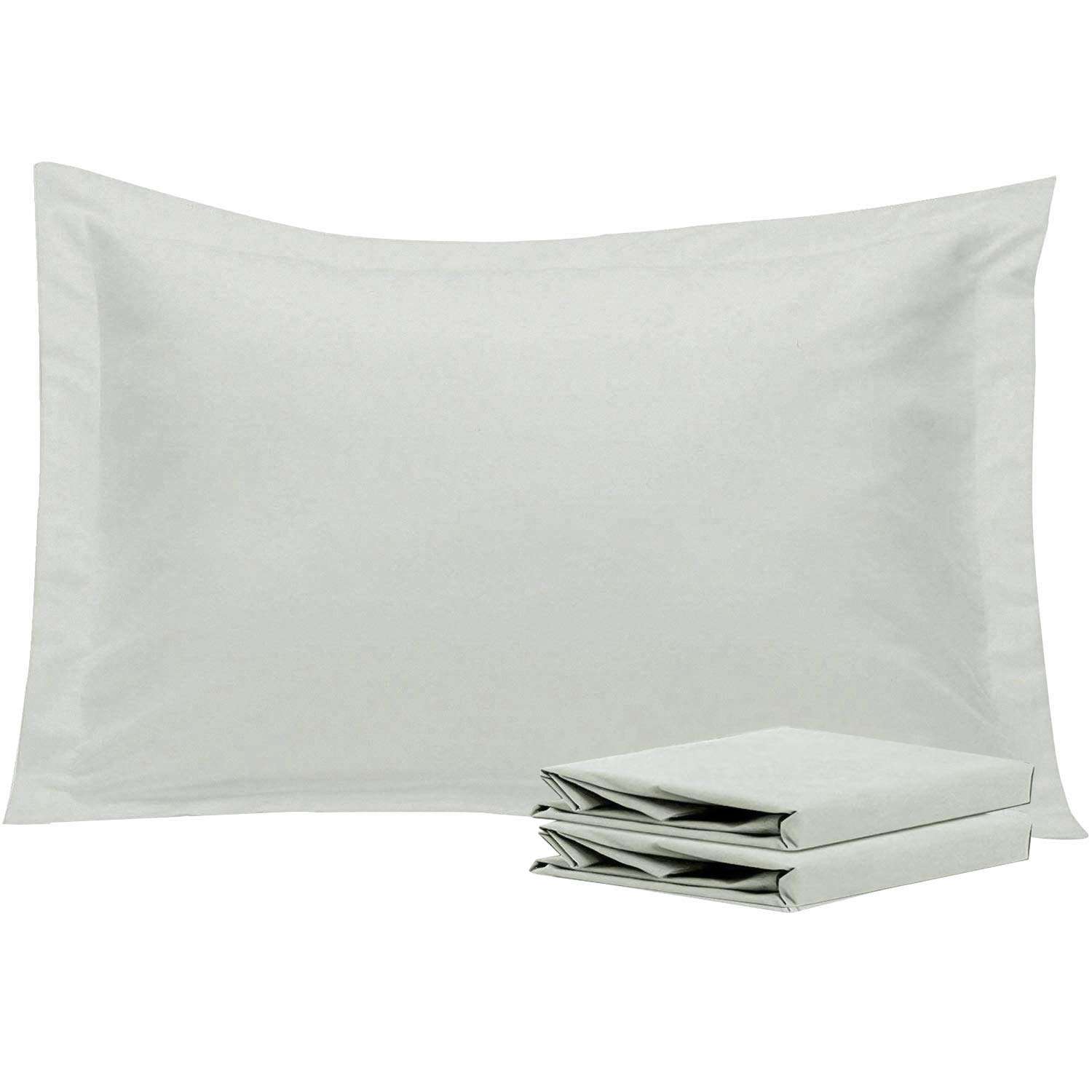 NTBAY Queen Pillow Shams, Set of 2, 100% Brushed Microfiber, Soft and Cozy, Wrinkle, Fade, Stain Resistant (Light Grey, Queen)