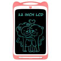 Ksera LCD Writing Tablet for Kids, 12 Inch Electronic Writing Drawing Doodle Board Tablet Digital Ewriter Pad with Screen Lock Gift for Kids Home School Handwriting Pad Memo Notebook (Pink)