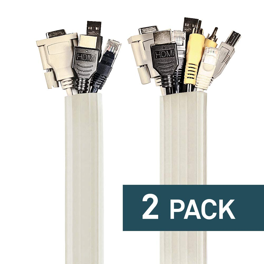 UT Wire UTW-FCW12-WH Expandable Flexi Cable Wrap, 12-Feet, White | 2 Pack