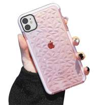 KUMTZO Compatible iPhone 11 Case, Crystal Clear Slim Diamond Pattern Soft TPU Anti-Scratch Shockproof Protective Cover for Women Girls Men Boys with iPhone 11 6.1 inch - Pink
