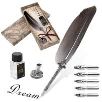 Ejoyous Quill Feather Pen, Hand Made Antique Quill Dip Pen, Calligraphy Writing Drawing Pen for Students Officer, Write Smoothly, Executive Gift with Empty Ink Bottle, 6 PCS Nib for Art and Craft