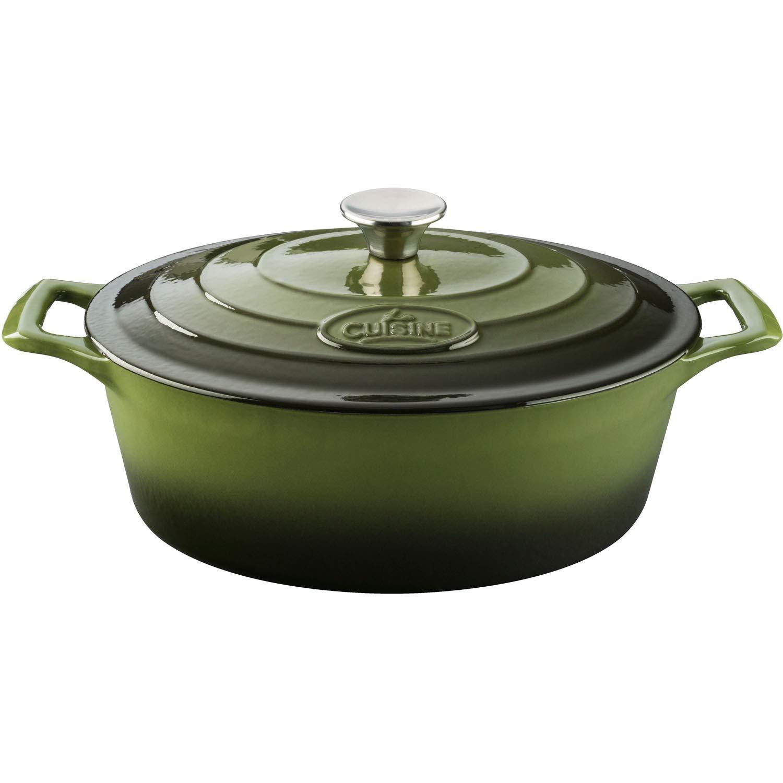 La Cuisine 6.75 Qt Enameled Cast Iron Oval Covered Dutch Oven, Green