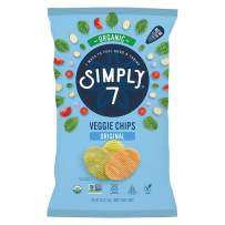 Simply 7 Organic Veggie Chips, Original, 4 Ounce (Pack of 12), Packaging May Vary