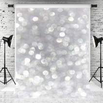 Kate 8x8ft Silver Grey Bokeh Photography Backdrop Luxury Portrait Background White Spot Backdrop