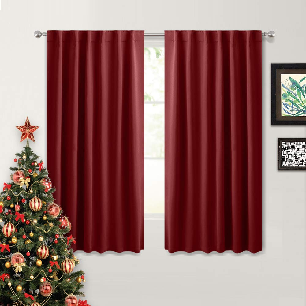 PONY DANCE 72 in Long Curtains - Window Decoration Blackout Christmas Drapes Blinds Home Covering for Living Room Energy Saving & Privacy Protect New Year Decor, 52 W x 72 L, Red, Set of 2