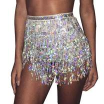 Victray Belly Hip Skirts Tassel Sequins Scarf Dance Fringe Skirt Wrap Fashion Party Rave Belts for Women and Girls (Silver)