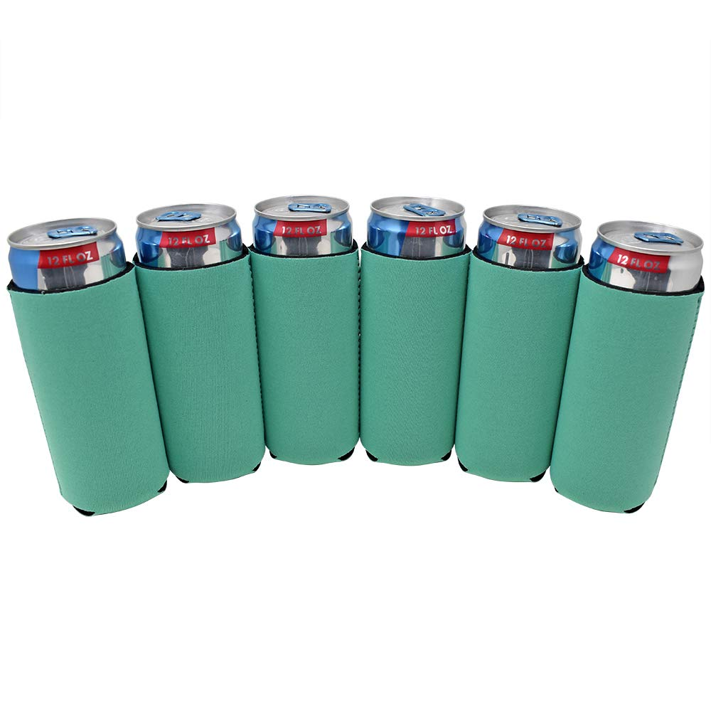 TahoeBay 6 Slim Can Sleeves - Blank Neoprene Beer Coolers – Compatible with 12oz RedBull, Michelob Ultra, White Claw Spiked Seltzer (Emerald, 6)