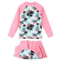 BAOHULU Girl's Two-Piece Long Sleeve Swimsuits UPF50+ Rash Guard Kids Bathing Suit
