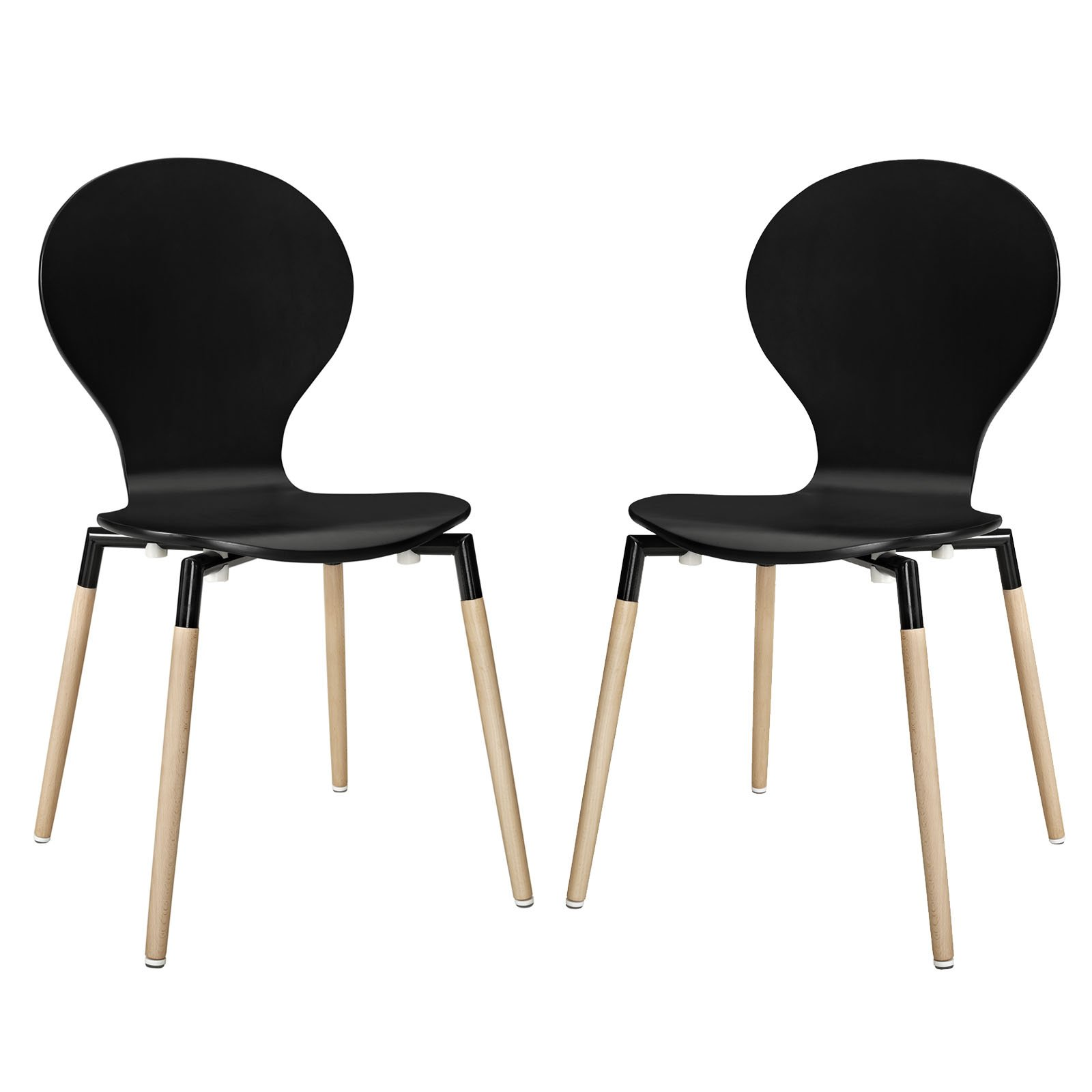 Modway Path Mid-Century Modern Two Kitchen and Dining Room Chairs in Black