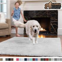 GORILLA GRIP Original Faux-Chinchilla Area Rug, 2x8 Feet, Super Soft and Cozy High Pile Washable Carpet, Modern Rugs for Floor, Luxury Shag Carpets for Home, Nursery, Bed and Living Room, Light Gray