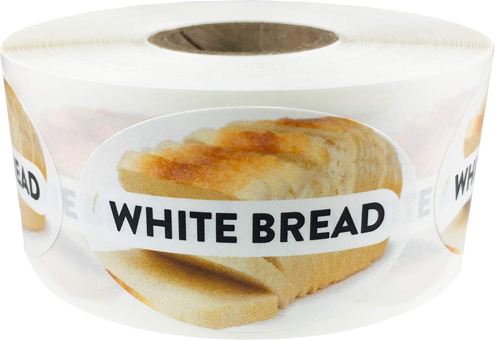 White Bread Grocery Store Food Labels 1.25 x 2 Inch Oval Shape 500 Total Adhesive Stickers