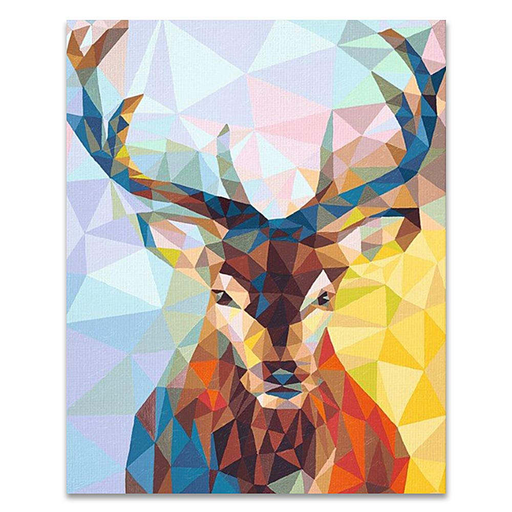 LIUDAO DIY Oil Painting Kit Paint by Number Kit for Adults Beginner Kids Christmas Deer Doe 16x20 inch Without Frame