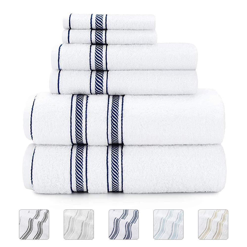 Lionel Richie Home Lifestyle Collection - 6 Piece Towel Set, Navy - 100% Cotton Bathroom Towels Set - 2 Luxury Bath Towels for Quickly Drying Hair, 2 Hand Towels for Bathroom, 2 Wash Towels