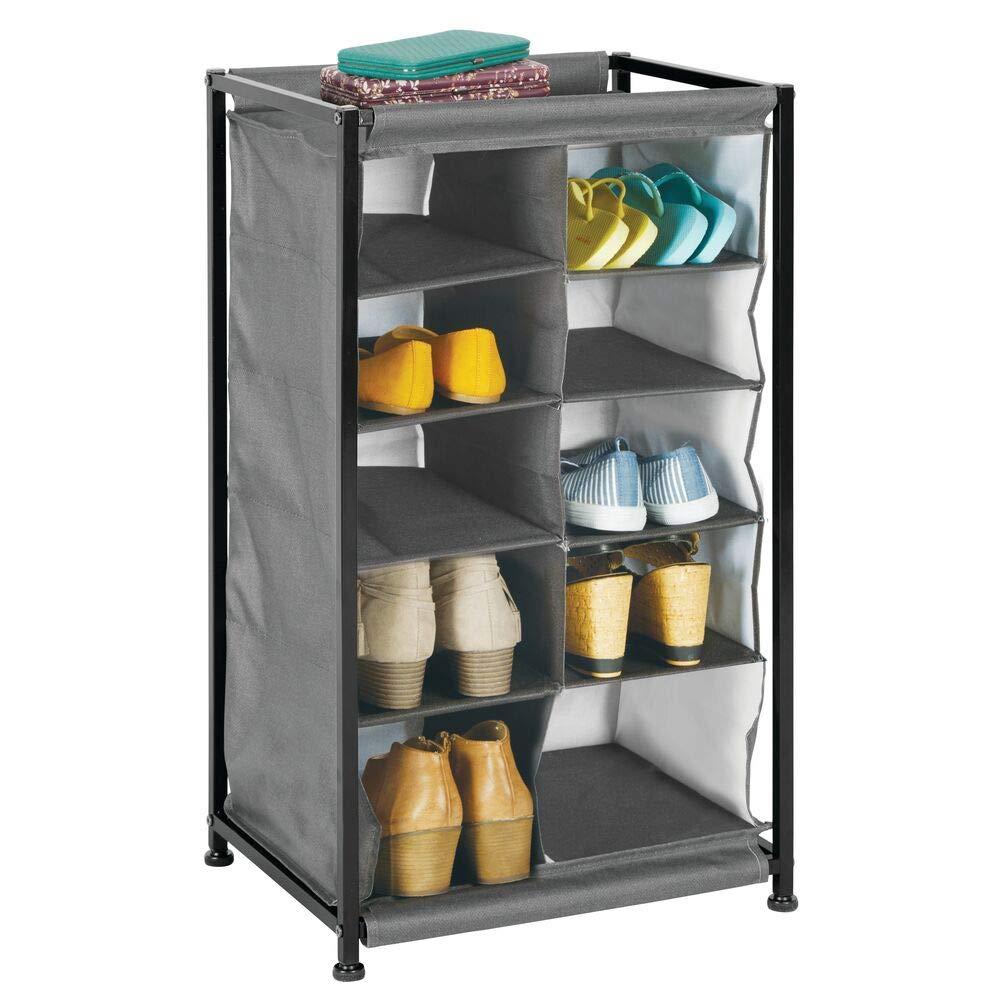 mDesign Soft Fabric Shoe Rack Holder & Organizer - 10 Cube Storage Shelf for Closet, Entryway, Mudroom, Garage, Kids Playroom - Metal Frame, Easy Assembly - Closet Organization - Charcoal Gray