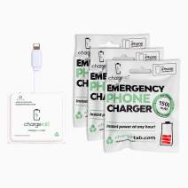 ChargeTab, Emergency Phone Charger, Portable Battery Pack, 1500mAh, On-Off Switch, Pre-Charged, Compatible with iPhone, 3 Pack