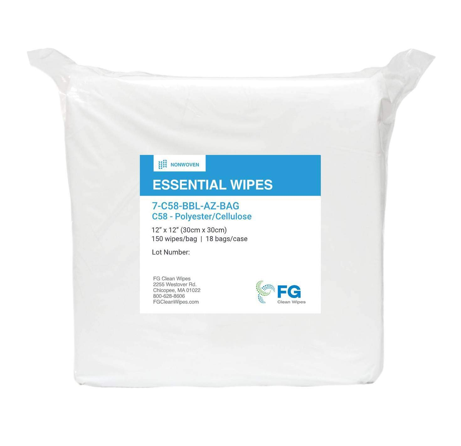 """FG Clean Wipes 12""""x12"""" C58 Polyester Cellulose Wipes -1 Bag - 150 Wipes/Bag"""