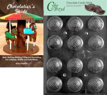 Cybrtrayd Golf Balls 3D Sports Chocolate Candy Mold with Chocolatier's Guide Instructions Book Manual