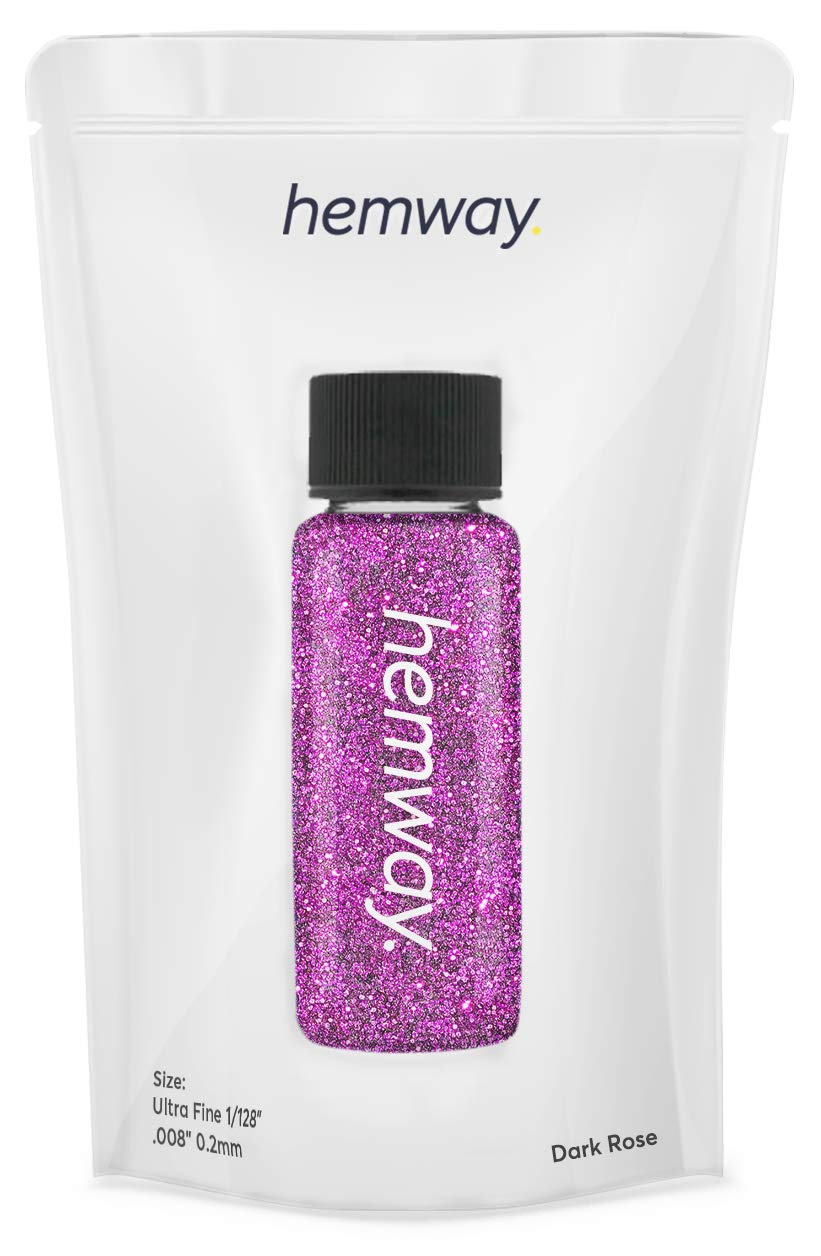 "Hemway Glitter Tube 12.8g / 0.45oz Extra Chunky 1/24"" 0.04"" 1MM Premium Sparkle Gel Nail Dust Art Powder Makeup Pigment Eyeshadow Face Body Eye Cosmetic Safe-(Dark Rose)"