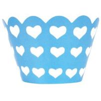 Just Artifacts Decorative Cupcake Paper Wrapper Muffin Holder - (40pc) Color: Baby Blue w/White Hearts - Decorations for Birthday Parties, Baby Showers, Weddings and Life Celebrations!
