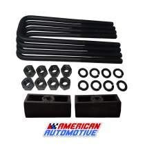 "American Automotive Suburban Yukon XL 2500 Lift Kit 2"" Rear Solid American Steel Suspension Lift Blocks + Extra Long 12.5"" Square Leaf Spring Axle U Bolts"