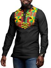 Mens African Dashiki Henley T Shirts Printed Long Sleeve Button Up Tees Tribal Floral Graphic Hipster Blouse