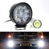 Led Driving Lights 27W 4 Inch Round Led Work Light Bar Pods 1PC Pack Flood Beam Off Road Fog Lights Waterproof for Jeep Truck Tractor Car Boat Motorcycle ATV SUV 4WD (27W Round)
