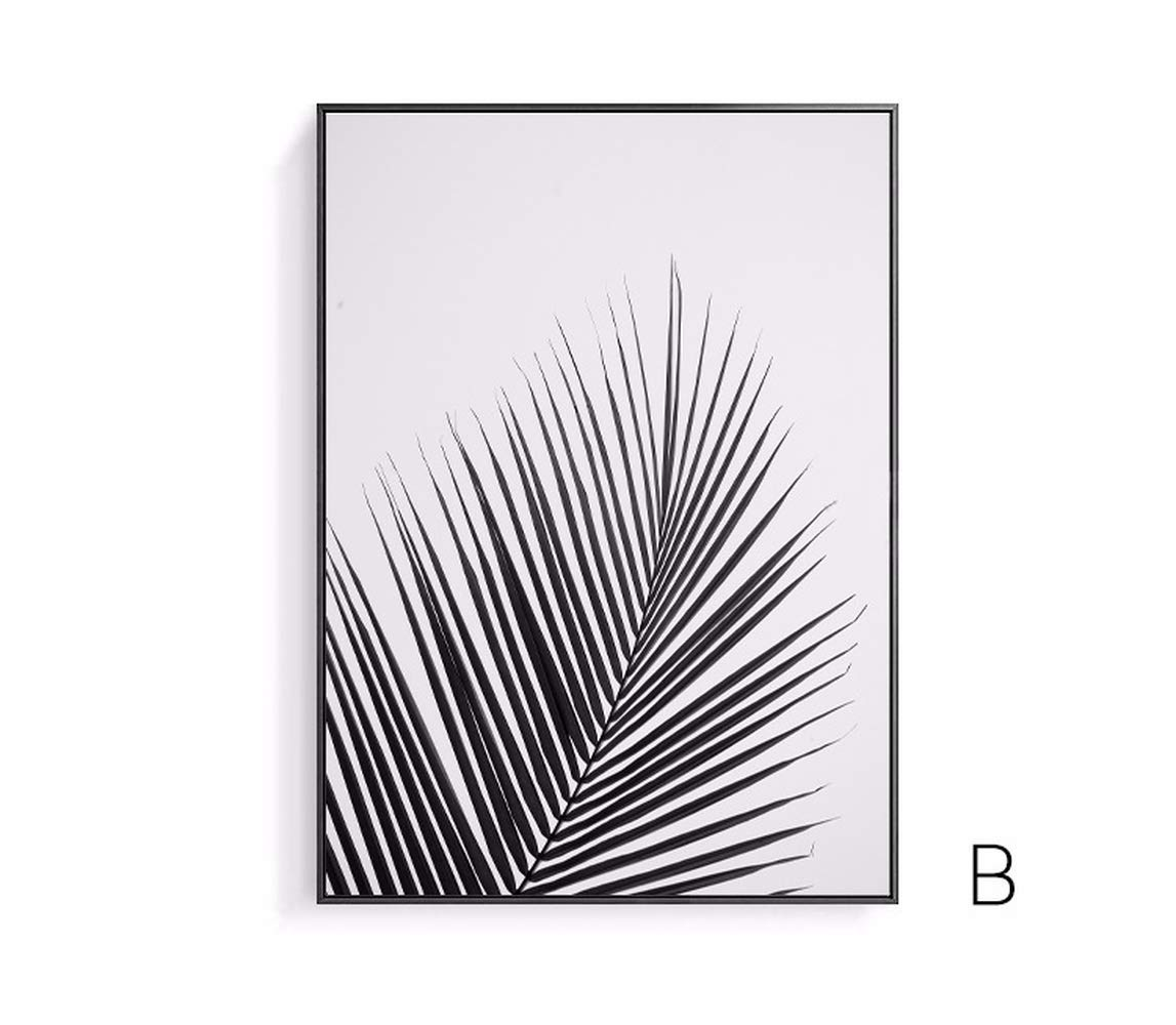 Artinme Trendy Framed Modern Abstract Elegant Black and White Palm Tree Leaves Giclee Canvas Prints Wall Art Picture Living Room Bedroom Home Decorations