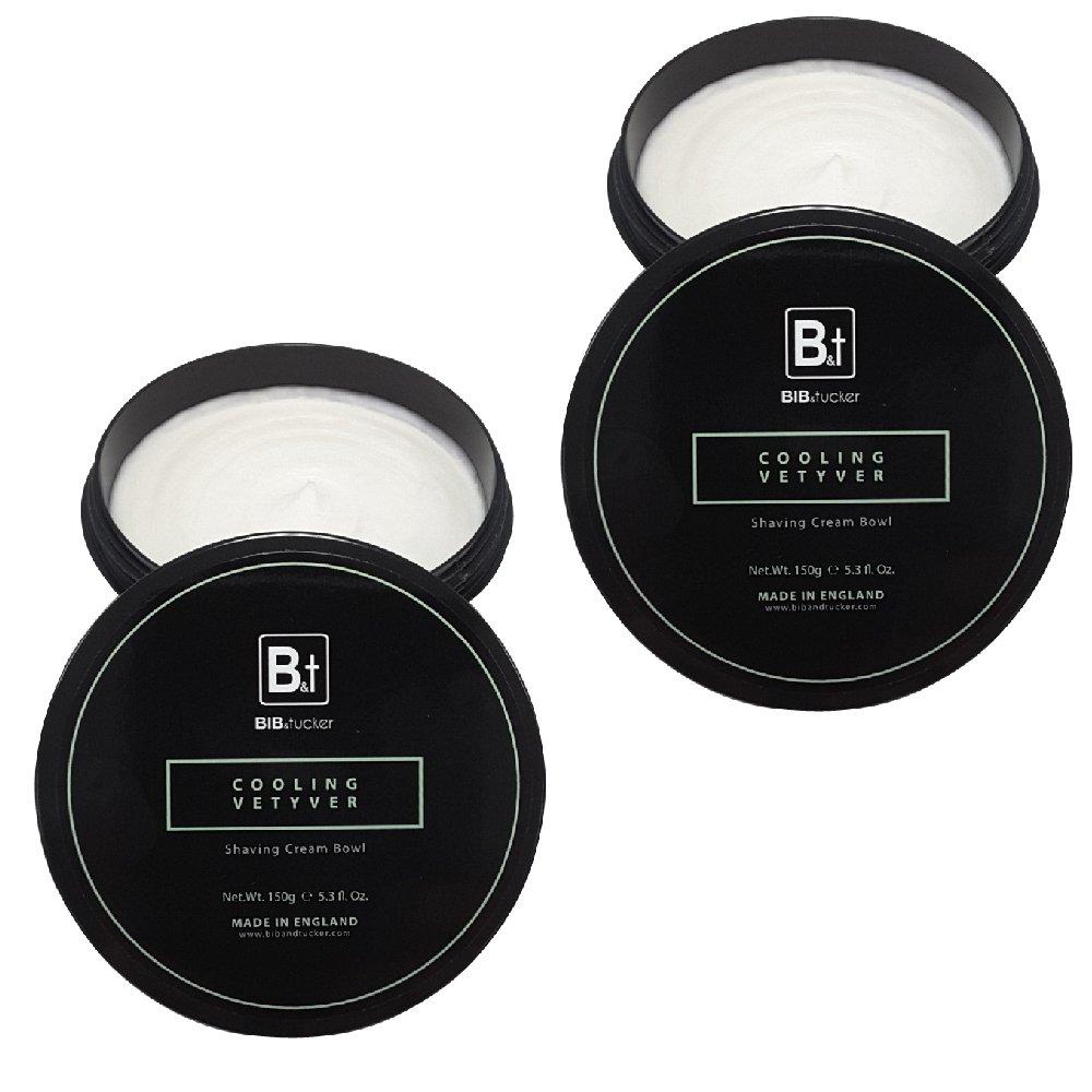 Bib & Tucker Shaving Cream Bowl - Cooling Vetyver 5.3 fl. oz. - 2 Pack