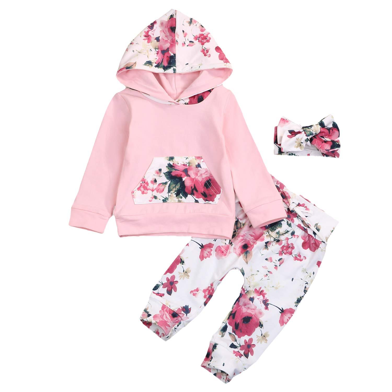 3PCS Newborn Infant Baby Girls Hoodie Sweatshirt Floral Pants Set + Bowknot Headband Fall Clothes Outfits