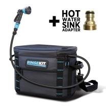 RinseKit Portable Outdoor Shower | 2-3 gallons of warm or cold water | Pressurized Spray for 4-9 minutes | No Pumping - No Batteries | Great for Camping, Surfing, Pets, Sport | Convenient and BPA Free