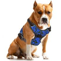 MUMUPET Dog Harness No Pull Pet Harness Adjustable Service Dog Vest for All Dogs Easy Control, 3M Reflective Oxford Material Vest Two Metal Tabs Behind The Chest Rings No More Tugging or Choking