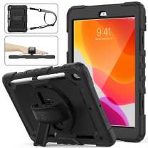 SEYMAC stock iPad 7th Generation Case, Three Layer Hybrid Drop Protection Case with [360 Rotating Stand] Hand Strap &[Stylus Pencil Holder] for 2019 New iPad 7 Generation 10.2 Inch (Black)