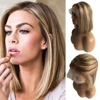 """Ombre Bob Wigs Lace Front Wigs 10"""" 150% Density 13x4 lace Swiss Roots Balayage Ombre Color #6 Chesthut Brown Fading to #613 Blonde Pre Plucked with Baby Hair for White Women"""