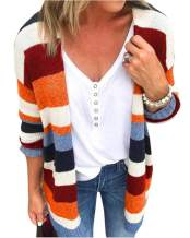 Cicy Bell Women's Color Block Striped Cardigan Open Front Long Sleeve Loose Knit Sweaters Outwear