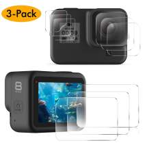 EZCO Screen Protector Compatible with GoPro Hero 8, [3 Sets/9Pcs] Waterproof Ultra Clear Tempered Glass Screen Protector + Tempered Glass Lens Protector + Small Display Film for GoPro Hero 8 Black