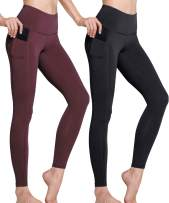 TSLA High Waist Yoga Pants with Pockets, Tummy Control Yoga Leggings, Non See-Through 4 Way Stretch Workout Running Tights