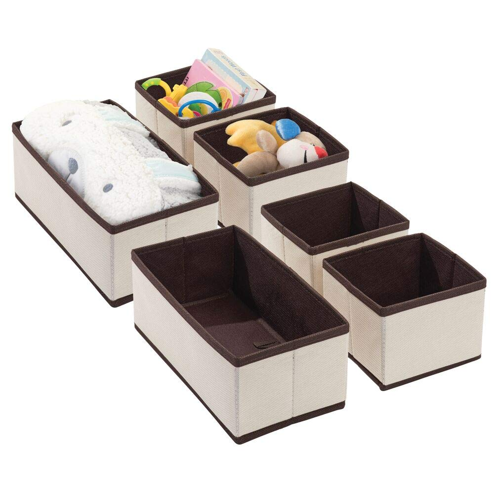 mDesign Fabric Dresser Drawer and Closet Storage Organizers for Child/Kids Room, Nursery, Playroom - Holds Boys, Girls, Baby Clothes, Onesies, Diapers, Wipes - 3 Piece Set - Cream/Espresso - 6 Pack