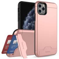 Teelevo Wallet Case for iPhone 11 Pro Max, Dual Layer Case with Card Slot Holder and Integrated Kickstand for iPhone 11 Pro Max (2019) - Rose Gold