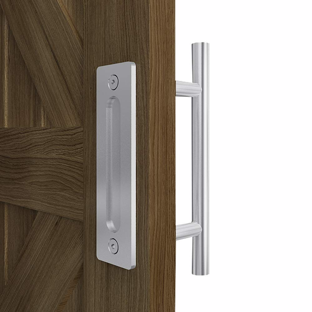 FREDBECK 12 Inch Sliding Barn Door Handle with Large Flush Finger Pull,Stainless Steel Door Pull,Round
