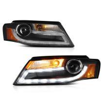 [For 2009-2011 Audi B8 A4 S4 Halogen Model] OLED Neon Tube Black Projector Headlight Lamp Assembly, Driver & Passenger Side