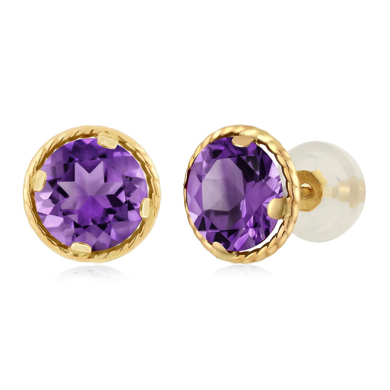 Gem Stone King 14K Yellow Gold Purple Amethyst Stud Earrings For Women Gemstone Birthstone 2.00 Cttw Round 6MM