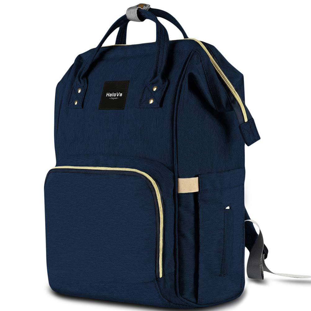 HaloVa Diaper Bag Multi-Function Waterproof Travel Backpack Nappy Bags for Baby Care, Large Capacity, Stylish and Durable Dark Blue