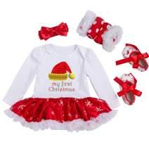 Looching Baby Girl Christmas Dress Tutu Romper + Headband + Leg Warmer + Shoes, Christmas Hat, 0-3 Months